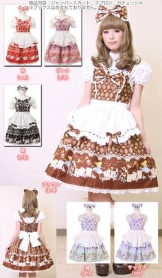 l457 - Jumper skirt - Lolita M Gre, Sax,Pik,Blk