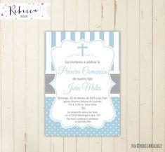 comunion invitacion niño celeste imprimible di RebeccaDesigns22