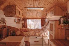 Van Tour — Slow 'n Steady Livin Bus House, Tiny House Cabin, Tiny House Living, Tiny House Design, House Rooms, House Stairs, House Floor, Build A Camper Van, Converted Vans