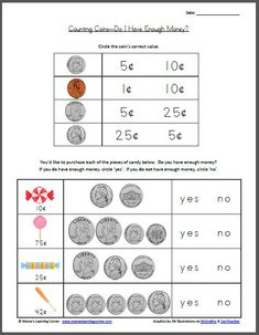Free Printable: Do I Have Enough Money? Worksheet for 1st-2nd graders  - from Mama's Learning Corner