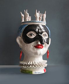 "Campania. Headvase design by Ugo La Pietra. Made by Alessandro Iudici, Caltagirone (Catania).    Produced for the project ""L'unità delle diversità"" that celebrates the150th anniversary of the Italian unification. 2011.     Handmade ceramic, height 35 cm. Unique piece.  Signed by designer and ceramist."