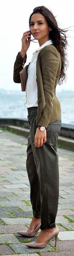Zara Khaki Zip Pocket Blazer by FormulaFarah