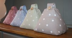 Handmade Shabby / Country Chic Fabric Doorstop Door stop in Taupe Beige / Blue / Green / Pink Spotty Polka Dot Fabric.