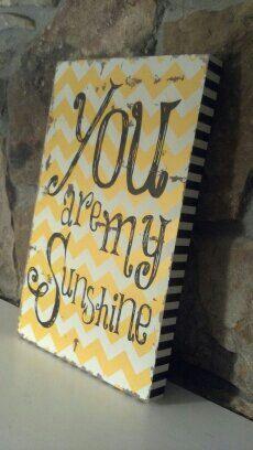 "Chevron ""You Are My Sunshine Wall Decor, Hanging wall sign, Chevron Wall Art on Etsy, $15.00"