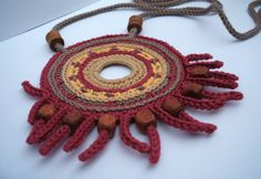 Crochet handmade cotton thread large necklace with wooden beads
