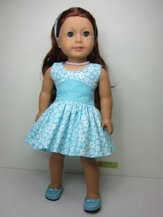 American Girl doll clothes Aqua and white by JazzyDollDuds
