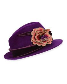 Philip Treacy Embroidered Flower Fedora w  Velvet Band Philip Treacy cb3a9e7a7c9