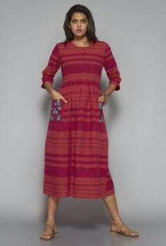 e346a2917c3a5 Buy Bombay Paisley by Westside Pink Striped Dress for Women Online   Tata  CLiQ