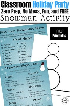 This Snowman Project is a fun, no mess, free, no prep holiday party craft perfect for elementary school classrooms. #winterparty #classroomparty #snowmancraft #coffeeandcarpool