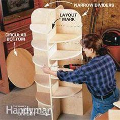 DIY  Lazy Susan storage for your walk-in closet, pantry or garage