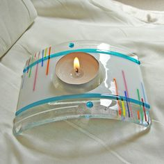 Fused Glass Candle Holder Home Decor Colorful Lighting by sljglass, $28.00