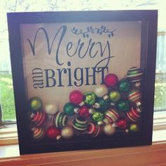 Christmas Shadow Box (How about adding special, old, vintage ornaments that mean something special to you. . .) #vintageornaments