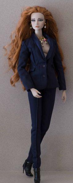 Poppy (IT doll), my repaint on a Nu-face body, wearing Giselle's suit. Jewellery by www.etsy.com/shop/IsabelleParisJewels