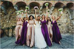 Rosewater & Aubergine ballgowns   twobirds Bridesmaid Dresses   A beautiful wedding featuring our multiway, convertible dresses   Photographer - www.hochzeitsfotograf-hamburg.deen