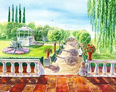 Watercolor landscape  'In The Garden' - http://irina-sztukowski.artistwebsites.com/featured/in-the-garden-irina-sztukowski.html