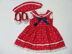 18 Inch Doll Clothes - Red Sailor Dress, Cap, & Shoes - American Made Girl Doll Clothes - 18 Inch Doll Patriotic Dress - Doll Beach Outfit