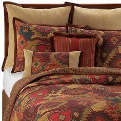 Santa Fe evokes the palette of the desert and inspired native American designs. Southwestern Bedroom, Southwest Decor, Southwestern Decorating, Southwest Style, Home Bedroom, Bedroom Decor, Bedrooms, Extra Bedroom, Dream Bedroom