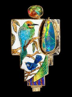 """Kabuki Lacuna in Rainbows"" by Marianne Hunter @ http://hunterstudios.com.    Opal, enamel, topaz. Probably the most exquisite pieces I have ever seen. In AWE!!!"