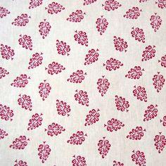 "Verano ""Leaves"" ~ crimson handprinted fabric, Yardage Design"