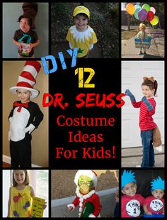 Seuss Costume Ideas for Kids! Amazing Dr Seuss costumes kids will love to wear, and that are EASY for parents to make! Cat in the Hat Costume, Thing 1 and Thing 2 Costumes, and more! Dr Seuss Diy Costumes, Book Day Costumes, Costume Ideas, Halloween Costumes, Book Week Costume, Thing 1 Costume, Teacher Costumes, Halloween Halloween, Vintage Halloween
