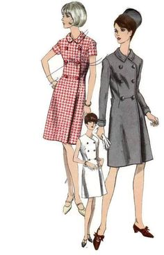 Vogue dress sewing patterns one piece coat dress, Bust 34 inches. One-Piece Dress. Semi-fitted double breasted coat dress has front seaming Robes Vintage, Vintage Dresses, Vintage Outfits, Dress Sewing Patterns, Clothing Patterns, Sewing Ideas, Retro Fashion, Vintage Fashion, Fashion Fashion