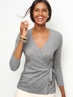 Soft, feminine, cozy, and chic -- everything a sweater should be. The Cashmere Faux-Wrap Sweater defines the waistline for a feminine fit with a slimming effect. From jeans to pants to skirts, pairing is easy. Which is great because you won't want to take it off! | Talbots