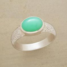 Luminescent, ever-changing Chrysoprase lends depth to a rustic sterling silver band. Handmade for Sundance. Whole sizes 5 to 9.