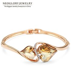 Charm Bracelets & Bangle Austrian Crystal & Rhinestone for Women Jewelry Rose Gold Plated Party He1 He-y QC