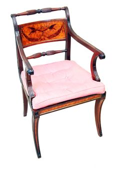 An Exceptional Quality George III Period Mahogany And Satinwood Armchair. Having Attractive Turned & Reeded Supports And Original Painted Decoration.To Back Above Elegant Carved And Scrolling Arms And Channelled Frame Raised. One Elegant Sabre Front & Back Legs. Circa 1790