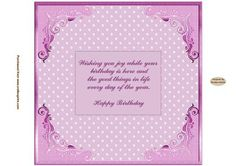 Happy Birthday Pink Insert on Craftsuprint designed by Sandra Carlse - This is a lovely collection of 'Pretty in Pink' Inserts. I have included birthday inserts for Mum, Nan, Grandma etc. There are also 'age' inserts as well. Thank you for showing an interest in my design. Please click on my name above to view more of my designs which include 3d Wedding Stepper Card Kits, 3d Birthday Easel Card Kits, Decoupage Cardmaking Sheets