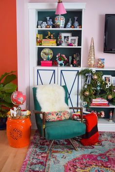 A bold, bright and colourful eclectic Christmas home tour