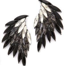 Juliet & Company, Cerise Earrings, black and silver, night out Black Jewelry, Jewelry Accessories, Fashion Accessories, Jewelry Design, Chunky Jewelry, Wing Earrings, Black Earrings, Estilo Grunge, Bling