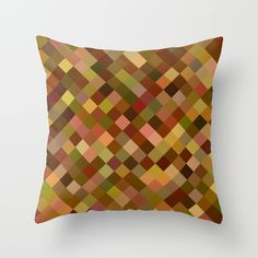 Autumn Colored Squares Brown Throw Pillow