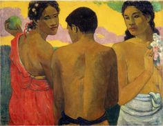 By Paul Gauguin, 1899, Three Tahitians, Oil on canvas.