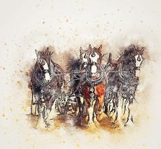 Horse, Plowing, Animal, Art