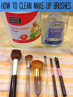 How to clean make-up brushes: 1 cup warm water, 1tbsp vinegar, 1 tbsp dish soap