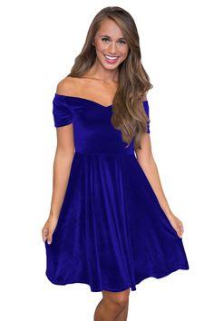 d03fdfca5de Pleated Off Shoulder Blue Velvet Midi Dress