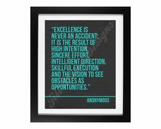 Workplace Wisdom Series No. 4: Excellence Quote (Anonymous) Printable - CUSTOM COLOR OPTIONS
