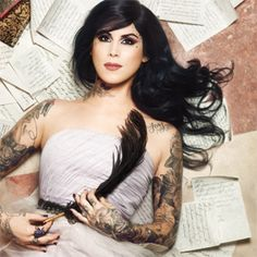 Kat Von D - If I could have a job where tattoos were acceptable (all over my body), I would take it.... buuuuut everything that accepts tattoos like this would not work for me