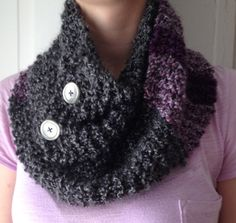 Moonlit Lilacs Purple, and Grey Button Scarf  All Acrylic items in my shop on clearance now!!