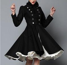 Black Coat - Olga Double-Breasted Military Coat by Look Fashion, Winter Fashion, Womens Fashion, Fashion Coat, Classy Fashion, Fashion Vintage, Fashion Models, Fashion Shoes, Girl Fashion