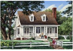 Elevation of Cottage   Country   Farmhouse  Traditional   House Plan 57044