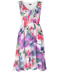Vida Frill Floral Silk Dress