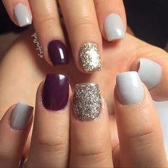 Cute nail art design for short nails. Love this for Fall! | nail art ideas | ideas de unas | nail art with glitter | #nailart