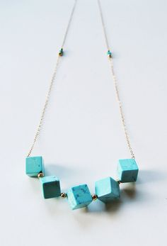 ON SALE Geometric Turquoise Cube Necklace 14k by friedasophie