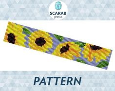 (5) Name: 'Jewelry : Loom Bead Pattern: Sunflowers Cuff