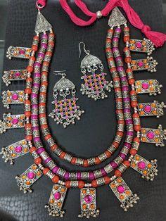 Afghani Jewelery tribal jewelry stone studded necklace sets boho gypsy necklace and earrings combo s Jewellery Diy, Gems Jewelry, Tribal Jewelry, Stone Jewelry, Jewelery, Silver Jewelry, Handmade Jewelry, Fashion Jewelry, Jewelry Making