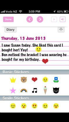 My Secret Diary er en gratis dagbogs-app (IOS) - Her kan du føre dagbog med tekst, billeder (fra din cameraroll) og stickers - Lås med en kode - Engelsk brugerflade