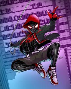 Miles Morales - Glen Canlas Marvel Fan, Marvel Heroes, Marvel Avengers, Marvel Comics, Comic Books Art, Comic Art, Miles Morales Spiderman, Black Anime Characters, Spiderman Spider