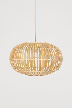 Taklampe i bambus - Lys beige - Home All Bamboo Pendant Light, Drop Lights, H&m Home, Metallic Paint, Light Beige, Lampshades, Furniture Collection, Fabric Covered, Modern Bedroom